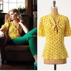 Anthropologie Girls from Savoy owl blouse